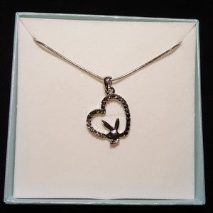 Silver Heart Shape Playboy Bunny Necklace